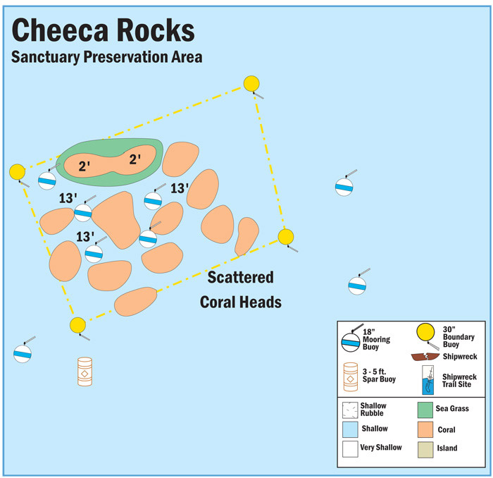Map Of Buoys In Cheeca Rocks Sanctuary Preservation Area