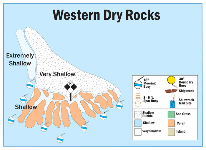 Map of Buoys at Western Dry Rocks