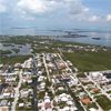Aerial photo of Keys shorelines are at risk by sea level rise.