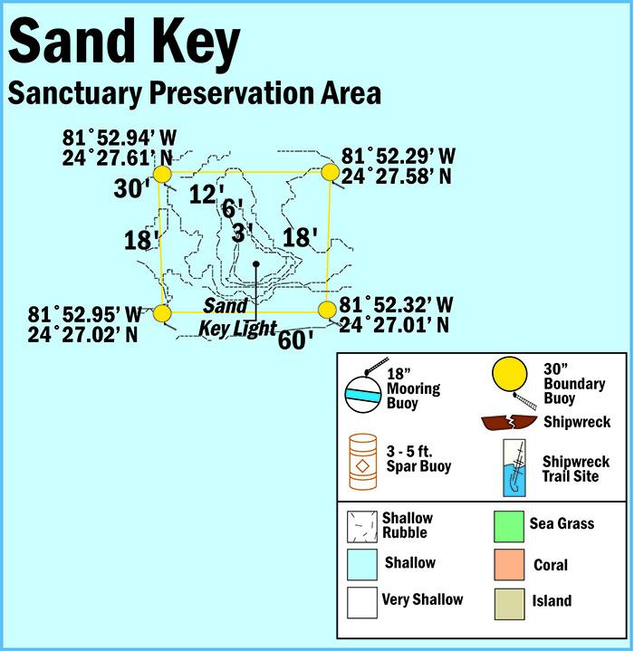 Florida Keys Map.Sand Key Sanctuary Preservation Area