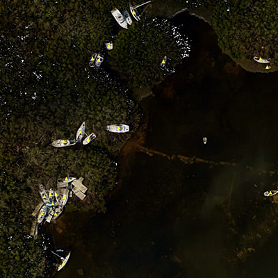 satellite image displays vessels damaged and sunken in the aftermath of Hurricane Irma in Marathon Key