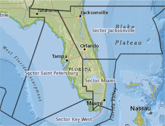map of florida with u.s. coast guard boundaries overlayed