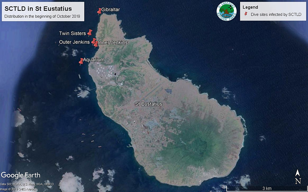 map showing the location of stony coral tissue loss disease in St. Eustatius